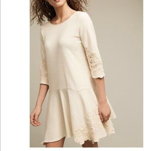 NWT Anthropologie Tierra Dropwaist Dress Ivory